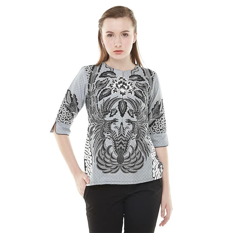 Aksa Batik Arabella Kenzo Blouse Batik Grey