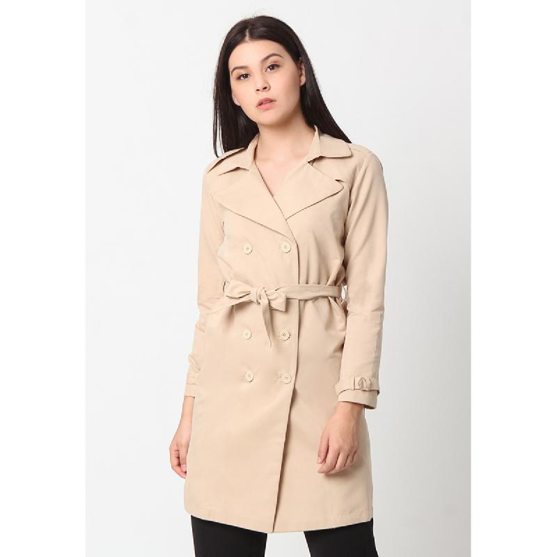 Agatha Tie-Waist Women Coat Brown