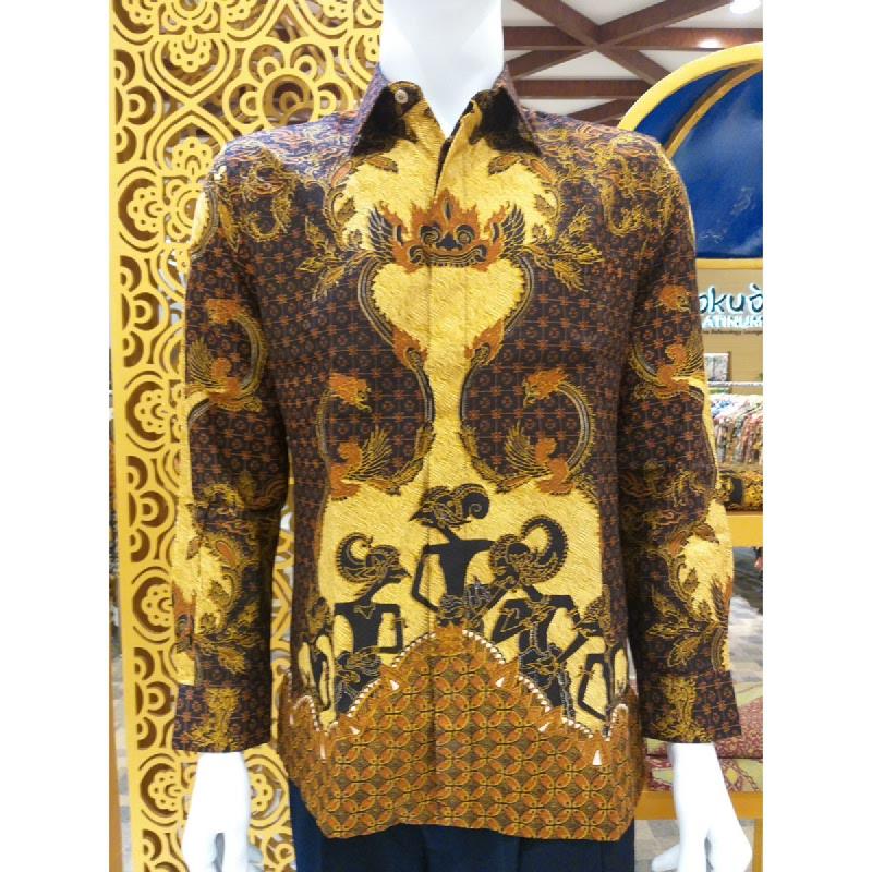 Batik Semar Pria Hem Panjang Full Tricot Pandawa Samarat 52 Sogan Cokelat Size 3L
