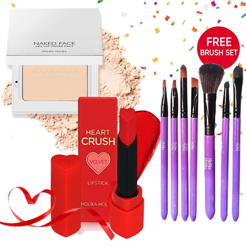 Holika Holika Naked Face Veil Fit Cover Pact 01 Light Beige + Heart Crush Lipstick Comfort Velvet CR01 Reddy Peach FREE Brush Set Purple