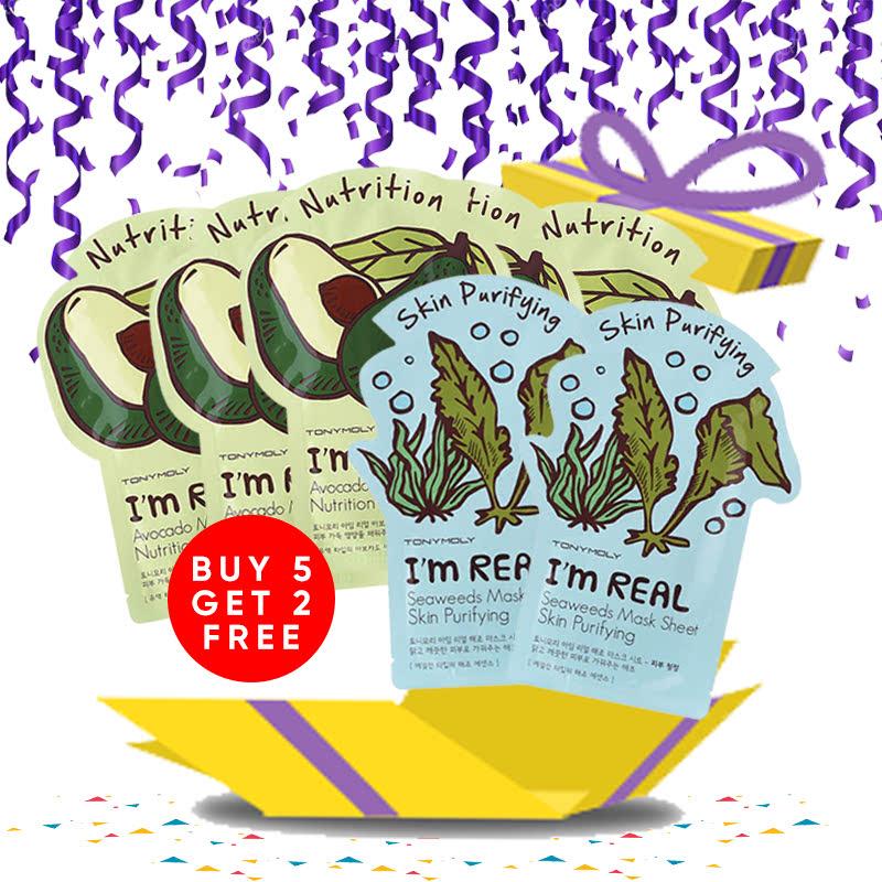 Tony Moly Bundle 5pcs I Am Real Avocado Mask Sheet Nutrition + 2pcs Seaweeds Mask Sheet Skin Purifying