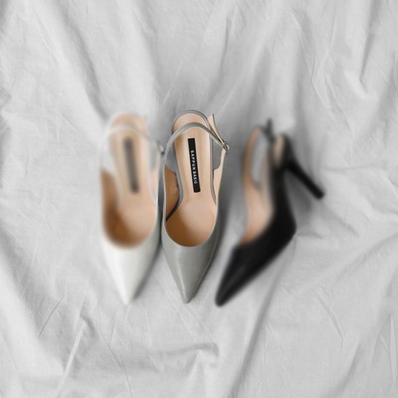 SAPPUN Helrin Slow Stiletto Sling Back Heel (5cm) - Gray