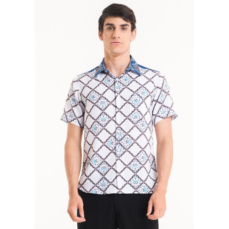 Bateeq Men Short Sleeve Cotton Print Shirt FM005A-SS18 White