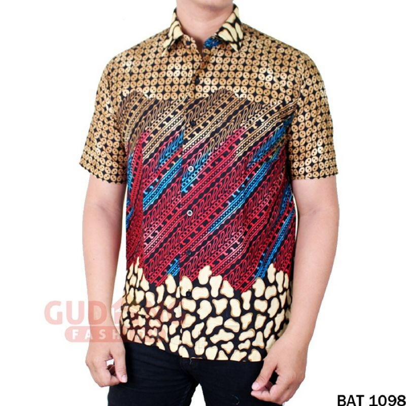 Gudang Fashion Batik Modern Pria Smart Casual Banyak Motif Coklat Kombinasi