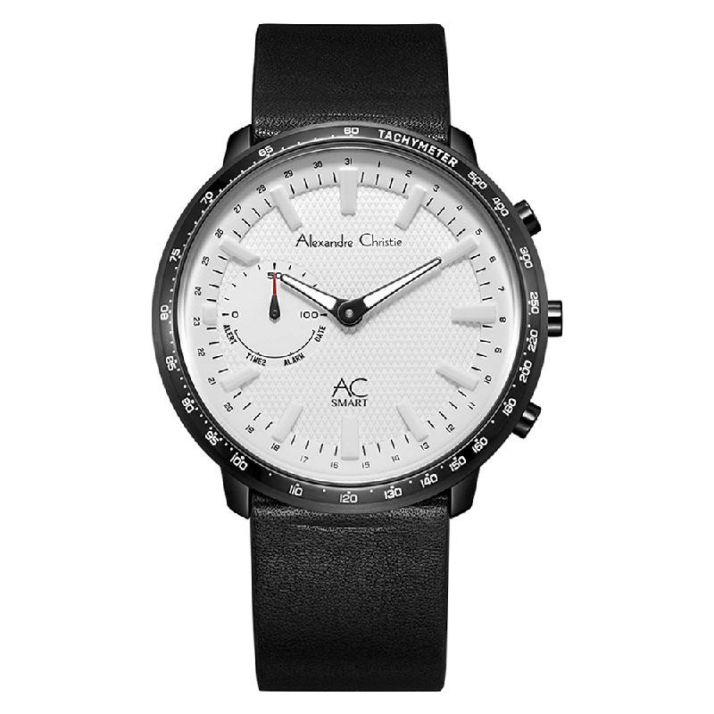 Alexandre Christie AC S001 MF LIPSL Hybrid Smartwatch Men Silver Dial Black Leather Strap