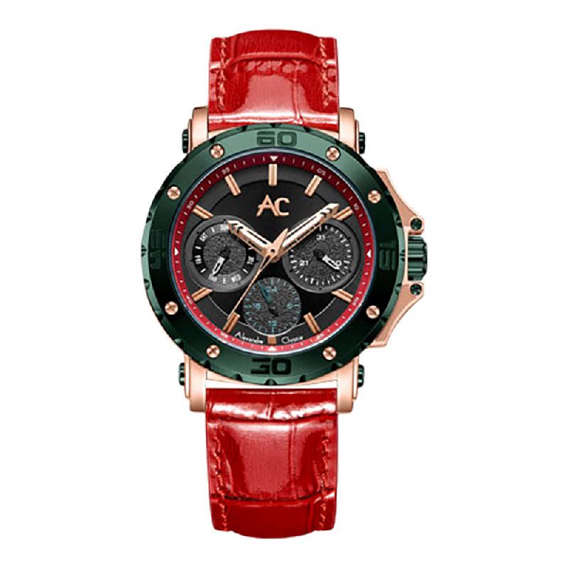 Alexandre Christie AC 9205 BFLRNBA LadiesBlack Dial Red Leather Strap