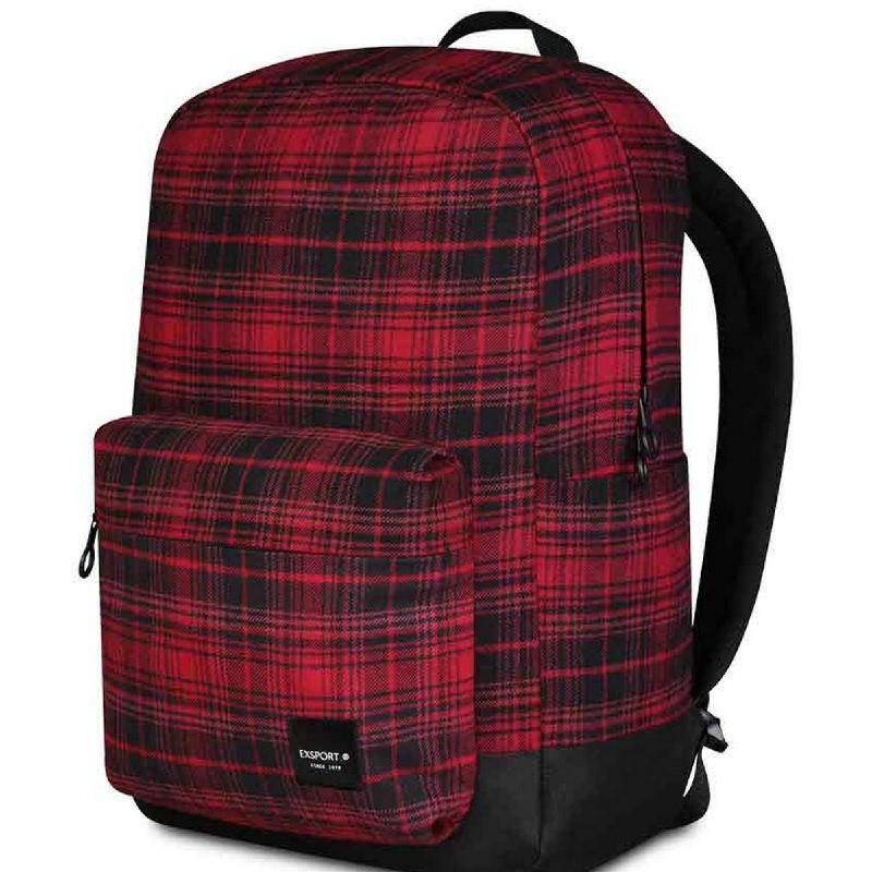 Exsport Delanoir Lite Red Tartan (L) Backpack - Black