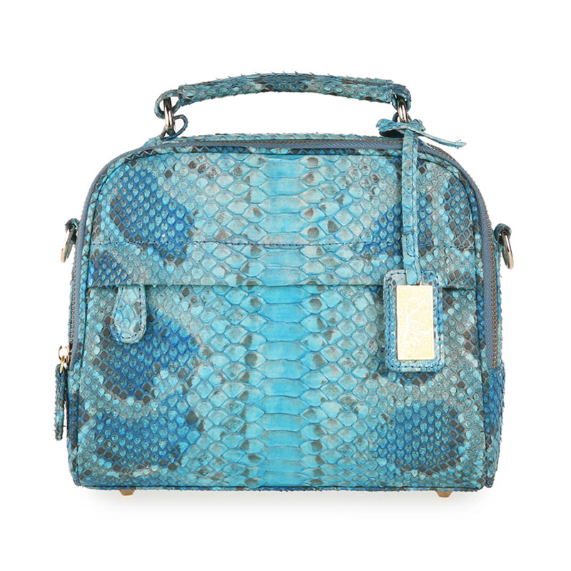 Exotiq Leather Layla Hand Bag Phyton Night Blue