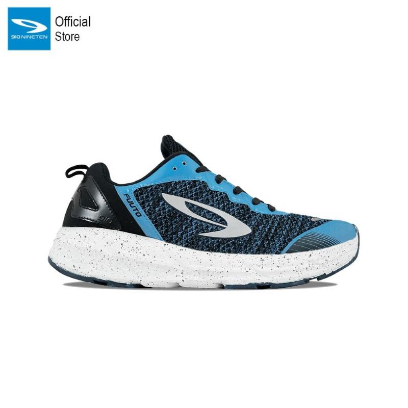 910 Nineten Fuuto Sepatu Lari  Biru Hitam Putih