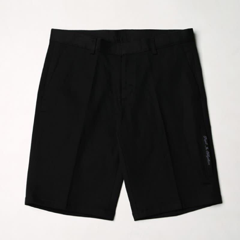 [BL2049]Lettering Wrinkle-Free Span Pants - Black