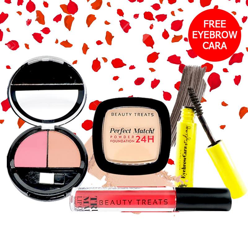 Beauty Treats Make Up Set A (Perfect Match Powder Foundation 24H No. 2 + True Matte Lip Color No. 9 + Duo Blush No. 2) FREE Eyebrowcara Dark Grey Brown