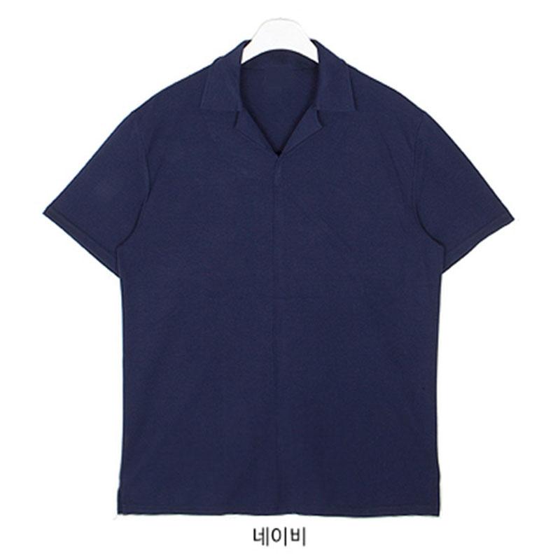 Caramel Point Collar T-shirt - Navy