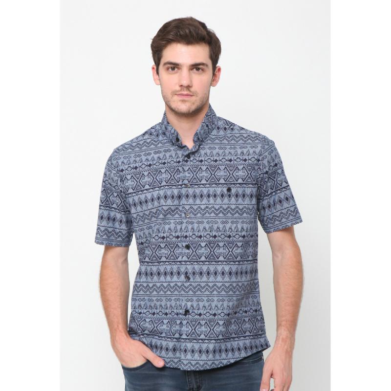 17Seven Shirts Shortshirt Motif Pattern Blue