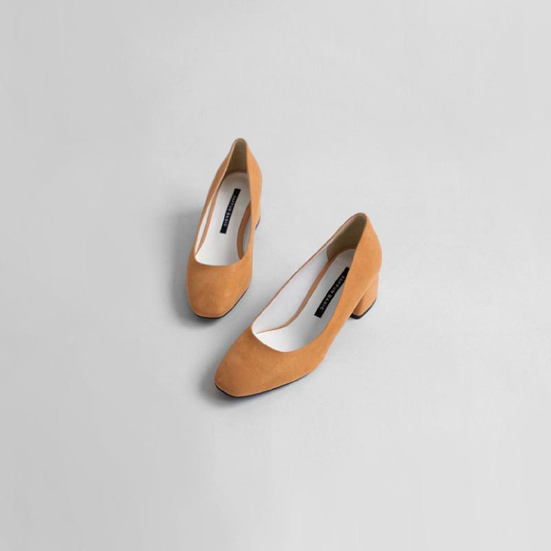 SAPPUN Love Suede Thumb Middle Heel (5cm) - Orange