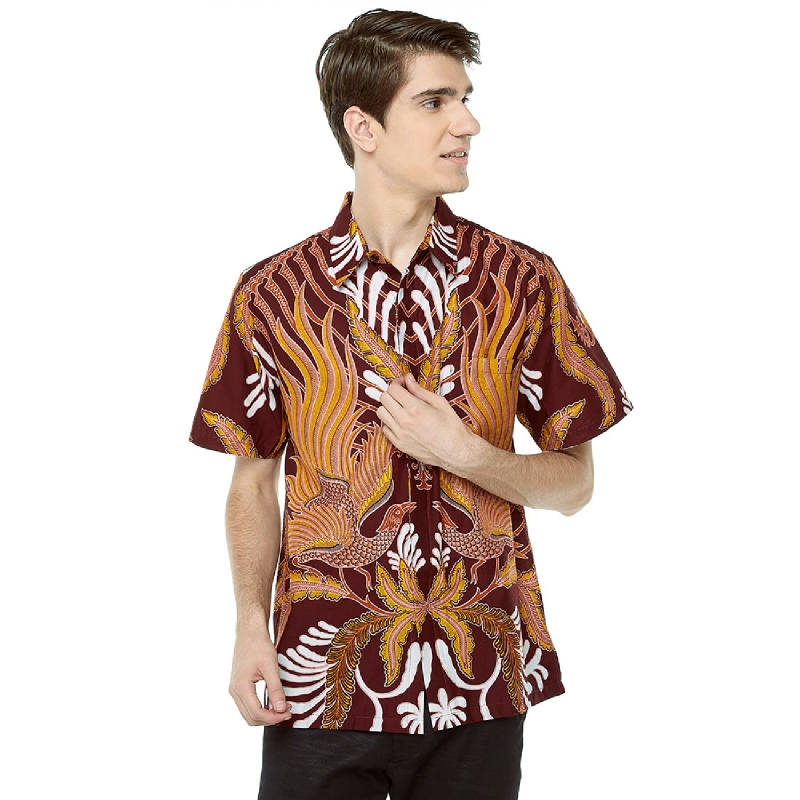 Adinata Batik Gantari Hem Pendek Maroon