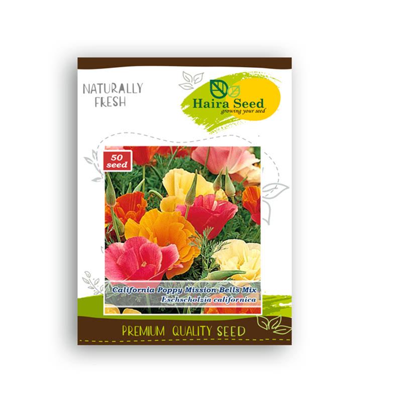Haira Seed Benih-Bibit Bunga California Poppy Mission Bells Mix