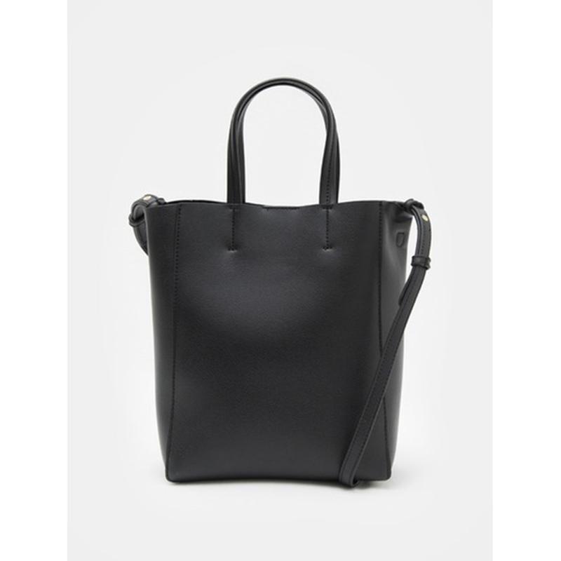 8 seconds Women Black Minimal Soft Two Way Tote Bag - Black