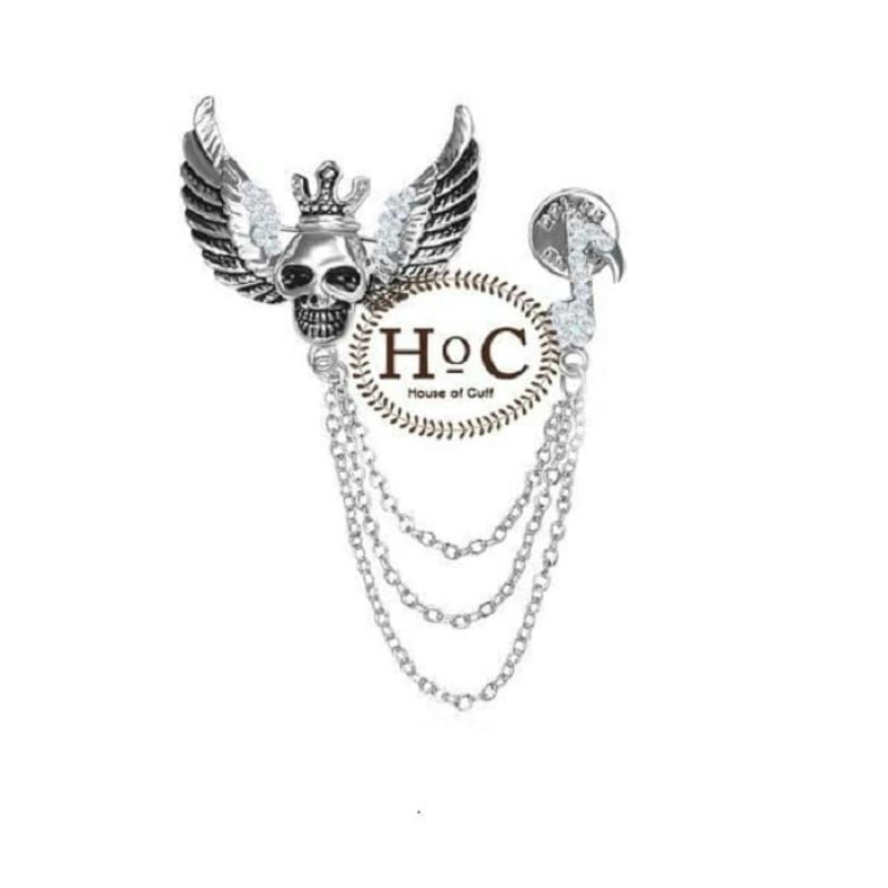 House Of Cuff Lapel Pin Bros Jas Wedding Best Man Skull Silver Wing Lapel Pin - Tengkorak