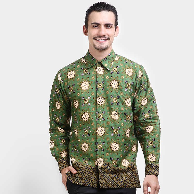 Kemeja Panjang Batik Print Motif Ceplok Blimbing Rans Liris