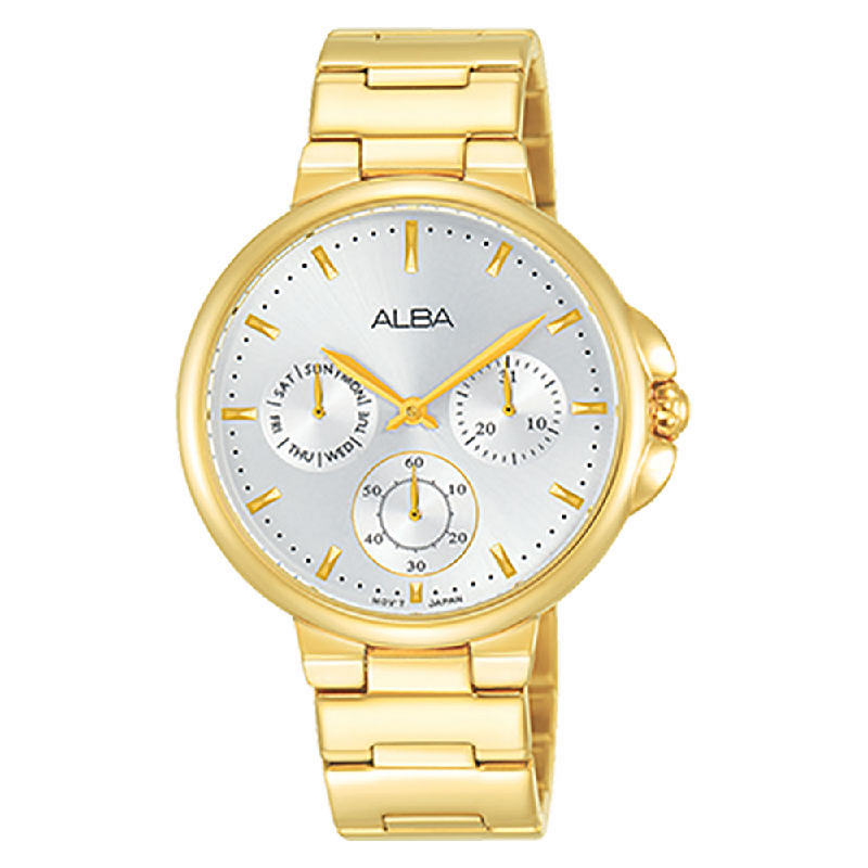 Alba AP6570X1 Ladies Silver Dial Gold Stainless Steel Strap