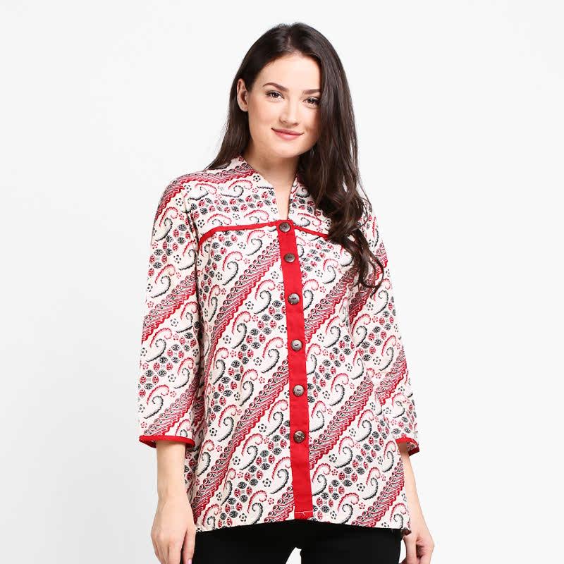 Arjuna Weda Blouse Batik Parang Kawung Merah