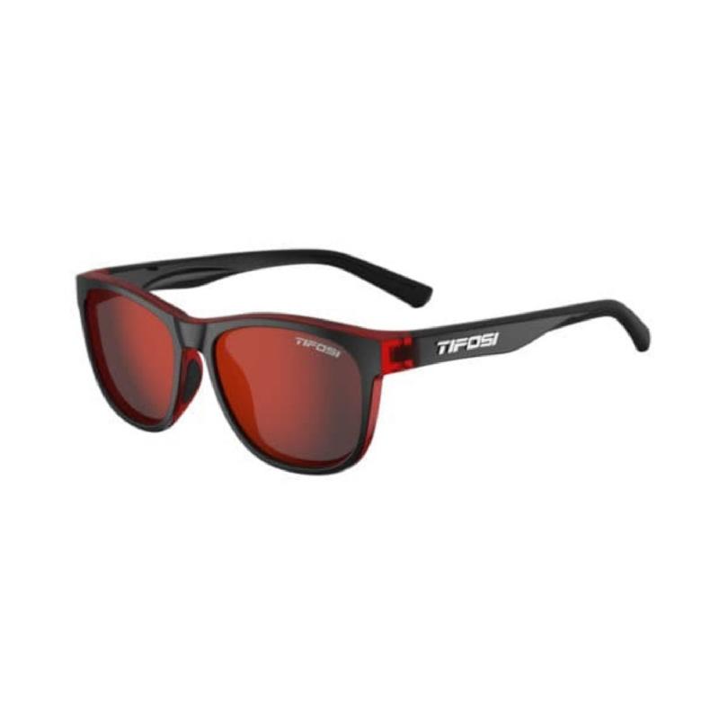Tifosi Swank Crimson-Onyx Sunglasses Smoke Red Lens