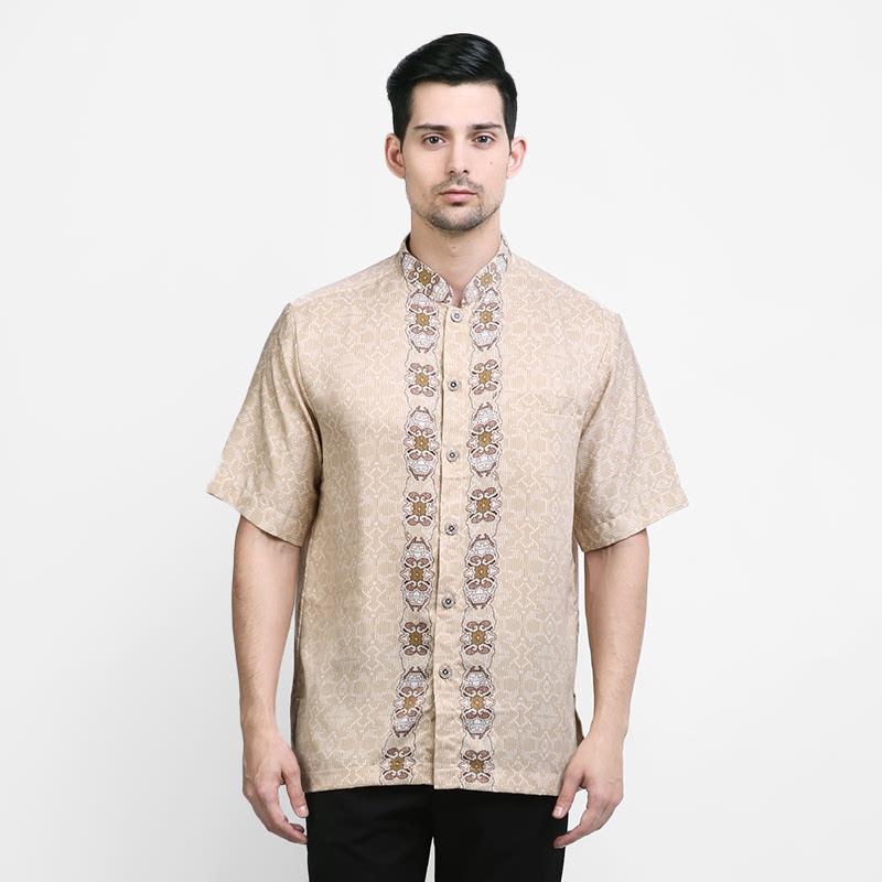 Arjuna Weda Baju Koko Batik Sentadu Merak Cream