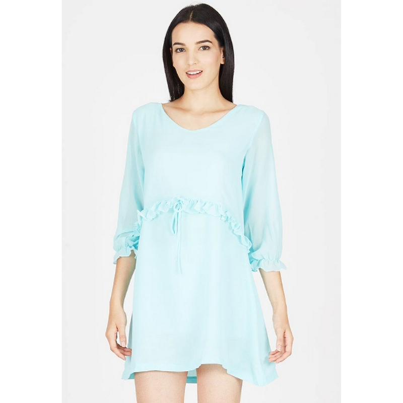 Lovadova Sky Ruffle Dress Blue