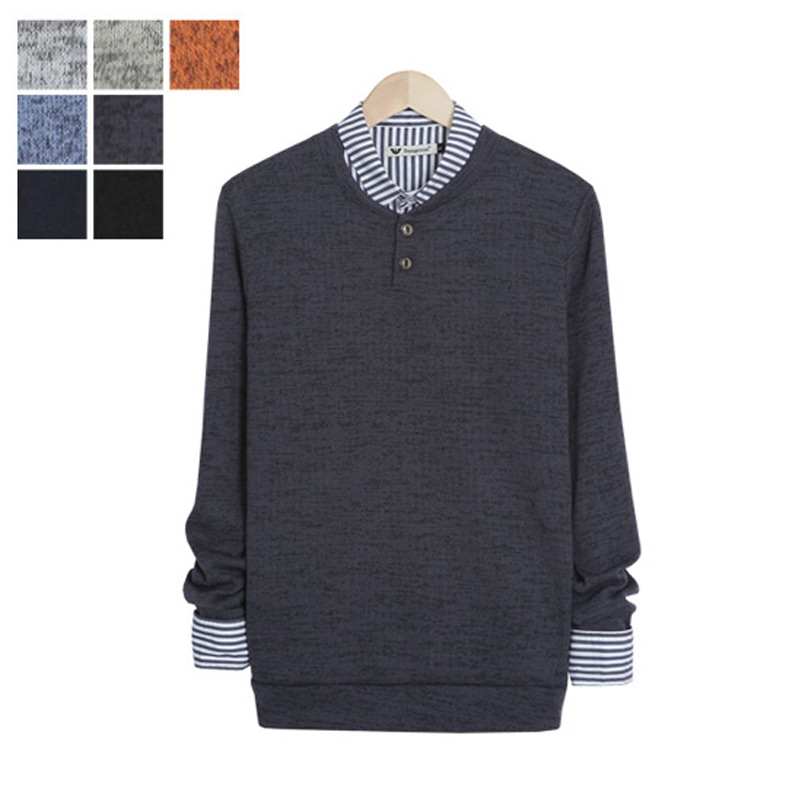 LW_Two Button Bokashi Henley Neck Knit - Charcoal