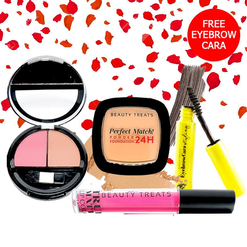 Beauty Treats Make Up Set A (Perfect Match Powder Foundation 24H No. 4 + True Matte Lip Color No. 1 + Duo Blush No. 2) FREE Eyebrowcara Dark Grey Brown