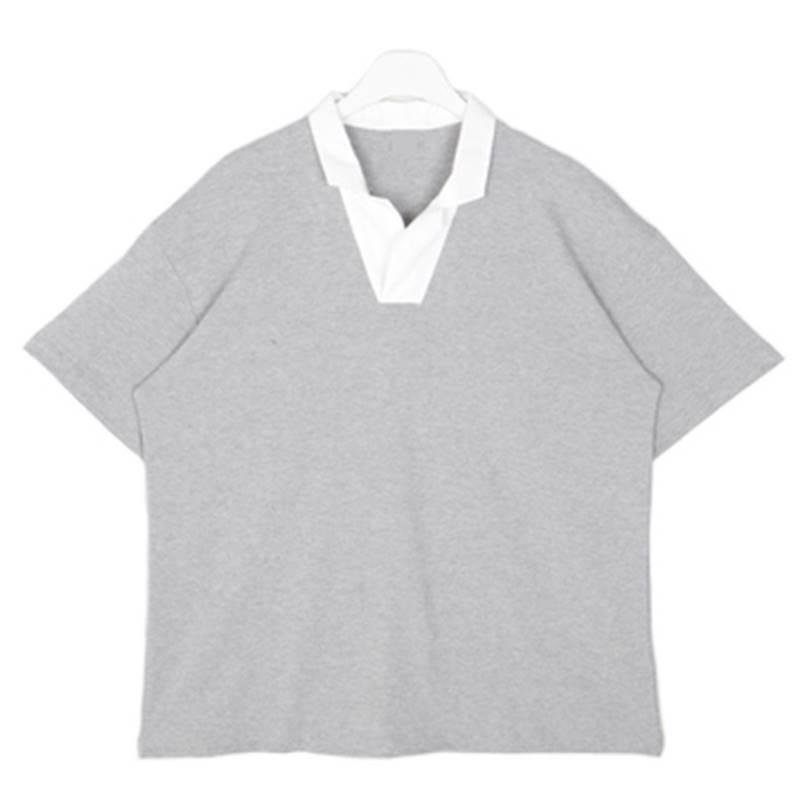 Black Swan Open Collar T-shirt - Gray