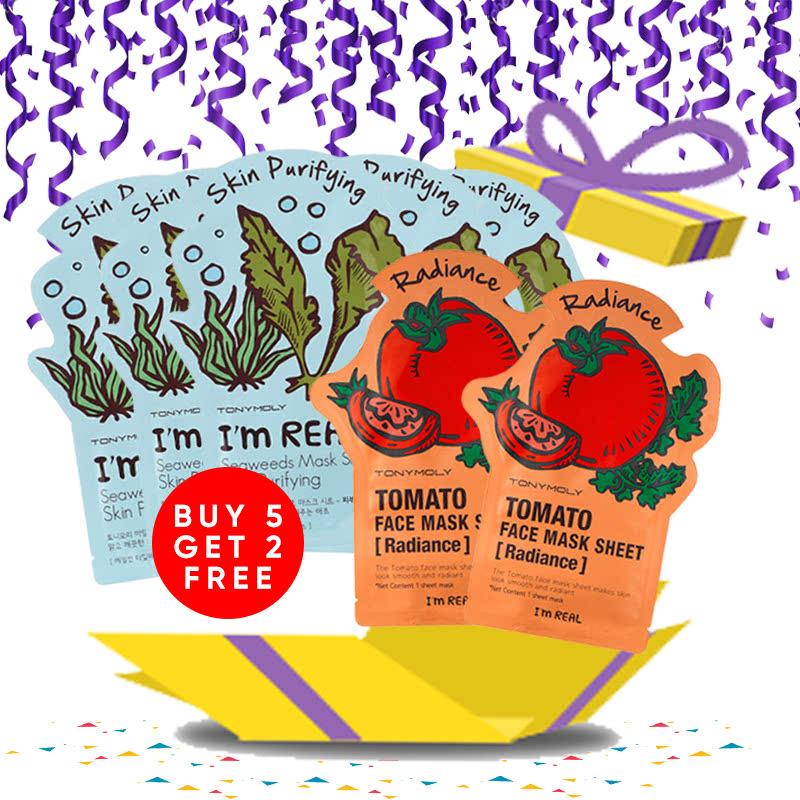 Tony Moly Bundle 5pcs I Am Real Seaweeds Mask Sheet Skin Purifying + 2pcs Tomato Mask Sheet Skin Glow