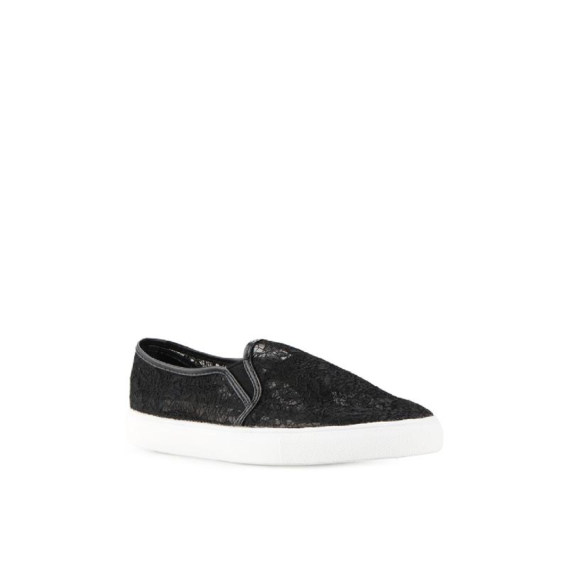 Black W Lace Slip-On