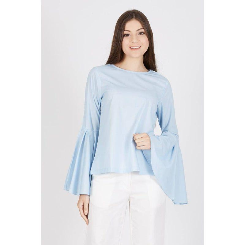 Rufina Flare Sleeve Top Blue