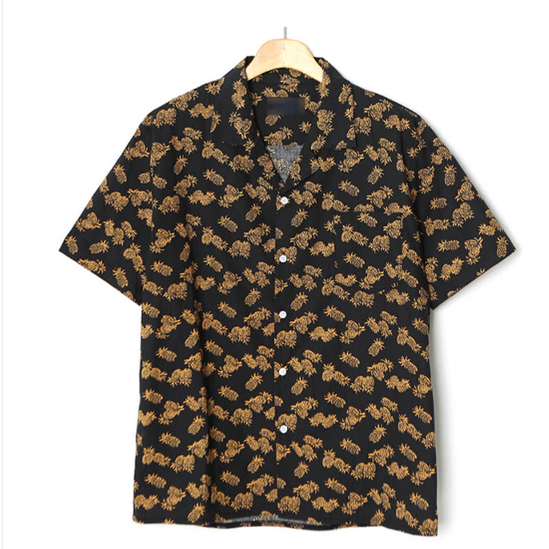 Pineapple Open Collar Shirt - Black